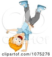 Clipart Energetic Happy Boy Doing A Cartwheel Royalty Free Vector Illustration