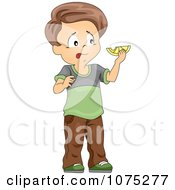Clipart Boy Tasting A Sour Lemon Royalty Free Vector Illustration by BNP Design Studio