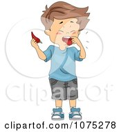 Clipart Boy Tasting A Spicy Pepper Royalty Free Vector Illustration by BNP Design Studio