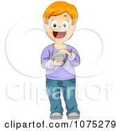 Clipart Happy Boy Touching And Holding A Rock Royalty Free Vector Illustration