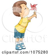 Clipart Cute Boy Blowing A Pinwheel Royalty Free Vector Illustration