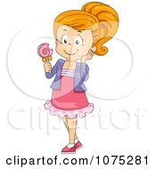 Clipart Girl Eating A Sweet Loli Pop Royalty Free Vector Illustration by BNP Design Studio