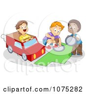 Clipart Cute Diverse School Boys Making A Paper Van Royalty Free Vector Illustration