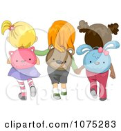 Clipart Diverse School Girls Wearing Animal Backpacks Royalty Free Vector Illustration