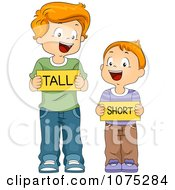 Clipart School Boys Holding Tall And Short Flash Cards Royalty Free Vector Illustration