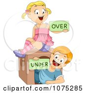 Clipart Happy School Children Holding Over And Under Flash Cards Royalty Free Vector Illustration