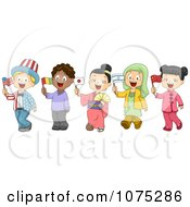 Clipart School Children Dressed To Represent Different Nations Royalty Free Vector Illustration