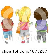 Clipart Cute Diverse School Children Walking To School Royalty Free Vector Illustration