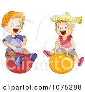 Clipart Happy School Kids Playing On Bouncy Balls Royalty Free Vector Illustration