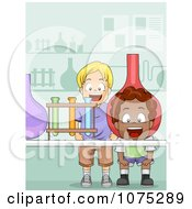 Clipart Excited School Boys In A Science Lab Royalty Free Vector Illustration
