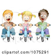 Clipart Happy Kids Riding Bikes With Training Wheels Royalty Free Vector Illustration