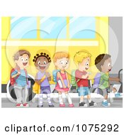 Clipart Cute Diverse School Children Boarding A Bus Royalty Free Vector Illustration