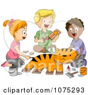 Clipart Cute Diverse School Children Making A Tiger In Art Class Royalty Free Vector Illustration