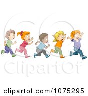 Clipart Cute Diverse School Children Running A Marathon Royalty Free Vector Illustration