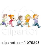 Clipart Cute Diverse School Children Running A Marathon Royalty Free Vector Illustration