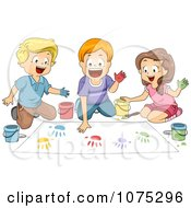 Clipart School Children Hand Painting In Art Class Royalty Free Vector Illustration
