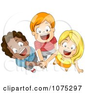 Clipart Three Diverse Children Joining Forces With Their Hands In Royalty Free Vector Illustration