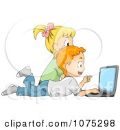 Clipart Two Children Searching The Internet On A Laptop Computer Royalty Free Vector Illustration