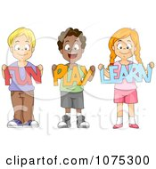 Clipart Cute Diverse School Children Holding Fun Play Learn Paper Cutouts Royalty Free Vector Illustration