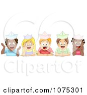 Clipart Cute Diverse School Children Wearing Paper Hats Royalty Free Vector Illustration
