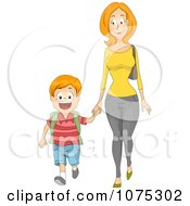 Clipart Caring Mother Holding Hands And Walking Her Son To School Royalty Free Vector Illustration
