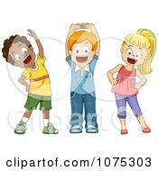 Clipart Cute Diverse School Children Stretching Royalty Free Vector Illustration