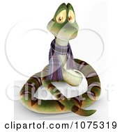 Clipart 3d Cute Snake Wearing A Scarf 1 Royalty Free CGI Illustration