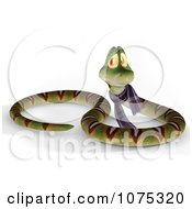 Clipart 3d Cute Snake Wearing A Scarf 2 Royalty Free CGI Illustration