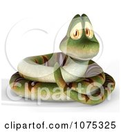 Clipart 3d Cute Coiled Snake 1 Royalty Free CGI Illustration