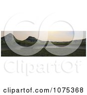 Clipart 3d Boat Lake And Mountainous Panoramic Landscape Royalty Free CGI Illustration