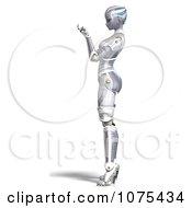 Clipart 3d Futuristic Female Sci Fi Robot Beckoning Royalty Free CGI Illustration