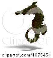 Clipart 3d Green Seahorse Royalty Free CGI Illustration