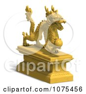 Clipart 3d Golden Dragon Statue 2 Royalty Free CGI Illustration