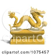 Clipart 3d Golden Dragon Statue 1 Royalty Free CGI Illustration by Ralf61