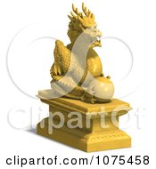Clipart 3d Golden Dragon Statue 3 Royalty Free CGI Illustration