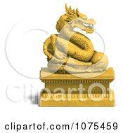 Clipart 3d Golden Dragon Statue 4 Royalty Free CGI Illustration