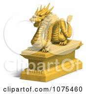 Clipart 3d Golden Dragon Statue 5 Royalty Free CGI Illustration