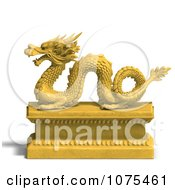 Clipart 3d Golden Dragon Statue 6 Royalty Free CGI Illustration by Ralf61