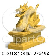 Clipart 3d Golden Dragon Statue 7 Royalty Free CGI Illustration