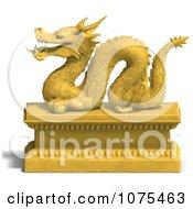 Clipart 3d Golden Dragon Statue 8 Royalty Free CGI Illustration