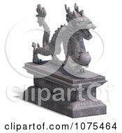 Clipart 3d Stone Dragon Statue 2 Royalty Free CGI Illustration