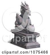 Clipart 3d Stone Dragon Statue 3 Royalty Free CGI Illustration