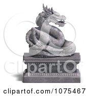 Clipart 3d Stone Dragon Statue 4 Royalty Free CGI Illustration