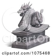 Clipart 3d Stone Dragon Statue 5 Royalty Free CGI Illustration