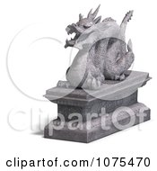 Clipart 3d Stone Dragon Statue 7 Royalty Free CGI Illustration