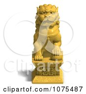 Clipart 3d Golden Fu Dog Statue 1 Royalty Free CGI Illustration by Ralf61