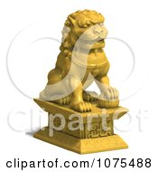 Clipart 3d Golden Fu Dog Statue 2 Royalty Free CGI Illustration by Ralf61