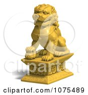 Clipart 3d Golden Fu Dog Statue 3 Royalty Free CGI Illustration by Ralf61