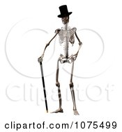 Clipart 3d Skeleton Wearing A Top Hat And Standing With A Cane Royalty Free CGI Illustration by Ralf61