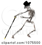 Clipart 3d Skeleton Wearing A Top Hat And Dancing With A Cane 1 Royalty Free CGI Illustration